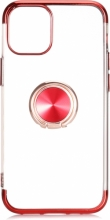 Apple iPhone 12 Pro Max (6.7) Kılıf Renkli Köşeli Yüzüklü Standlı Lazer Şeffaf Esnek Silikon - Kırmızı