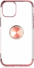 Apple iPhone 12 Pro Max (6.7) Kılıf Renkli Köşeli Yüzüklü Standlı Lazer Şeffaf Esnek Silikon - Rose Gold