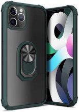 Apple iPhone 12 Pro Max (6.7) Kılıf Standlı Arkası Şeffaf Kenarları Airbag Kapak - Yeşil