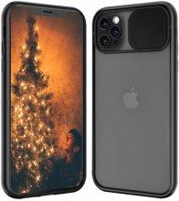 Apple iPhone 12 Pro Max (6.7) Kılıf Sürgülü Kamera Lens Korumalı Silikon Kapak - Siyah