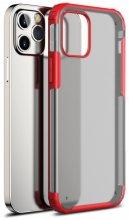 Apple iPhone 12 Pro Max (6.7) Kılıf Volks Serisi Kenarları Silikon Arkası Şeffaf Sert Kapak - Kırmızı
