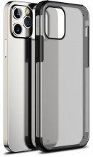 Apple iPhone 12 Pro Max (6.7) Kılıf Volks Serisi Kenarları Silikon Arkası Şeffaf Sert Kapak - Siyah