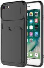 Apple iPhone 8 Kılıf Kartlıklı Lens Korumalı Silikon Kartix Kapak  - Siyah