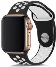 Apple Watch 38mm Kordon Spor Silikon Delikli KRD-02 - Siyah
