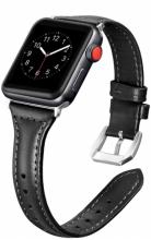 Apple Watch 44mm Deri Kordon KRD-28 - Siyah