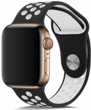 Apple Watch 44mm Kordon Spor Silikon Delikli KRD-02 - Siyah