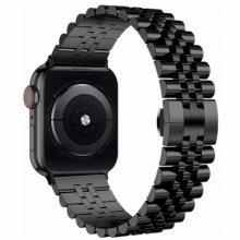 Apple Watch 44mm Metal Parlak Kordon Klipsli KRD-36 - Siyah