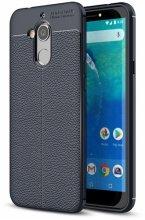 General Mobile GM 8 Kılıf Deri Görünümlü Parmak İzi Bırakmaz Niss Silikon - Lacivert
