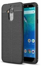 General Mobile GM 8 Kılıf Deri Görünümlü Parmak İzi Bırakmaz Niss Silikon - Siyah