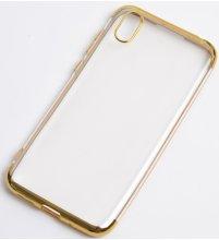 Honor 8s Kılıf Renkli Köşeli Lazer Şeffaf Esnek Silikon - Gold