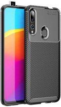 Honor 9x Kılıf Karbon Serisi Mat Fiber Silikon Negro Kapak - Siyah