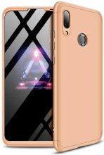 Huawei Honor 10 Lite Kılıf 3 Parçalı 360 Tam Korumalı Rubber AYS Kapak  - Gold