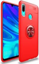 Huawei Honor 10 Lite Kılıf Auto Focus Serisi Soft Premium Standlı Yüzüklü Kapak - Kırmızı