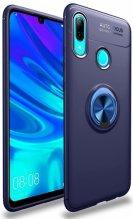 Huawei Honor 10 Lite Kılıf Auto Focus Serisi Soft Premium Standlı Yüzüklü Kapak - Mavi