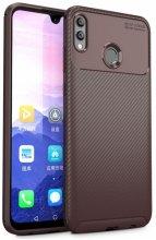 Huawei Honor 10 Lite Kılıf Karbon Serisi Mat Fiber Silikon Negro Kapak - Kahve