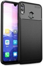 Huawei Honor 10 Lite Kılıf Karbon Serisi Mat Fiber Silikon Negro Kapak - Siyah