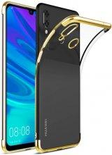 Huawei Honor 10 Lite Kılıf Renkli Köşeli Lazer Şeffaf Esnek Silikon - Gold