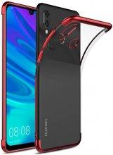 Huawei Honor 10 Lite Kılıf Renkli Köşeli Lazer Şeffaf Esnek Silikon - Kırmızı