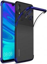 Huawei Honor 10 Lite Kılıf Renkli Köşeli Lazer Şeffaf Esnek Silikon - Mavi