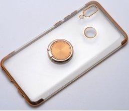 Huawei Honor 10 Lite Kılıf Renkli Köşeli Yüzüklü Standlı Lazer Şeffaf Esnek Silikon - Gold