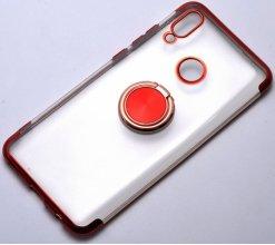 Huawei Honor 10 Lite Kılıf Renkli Köşeli Yüzüklü Standlı Lazer Şeffaf Esnek Silikon - Kırmızı