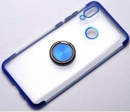 Huawei Honor 10 Lite Kılıf Renkli Köşeli Yüzüklü Standlı Lazer Şeffaf Esnek Silikon - Mavi