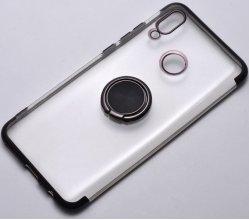 Huawei Honor 10 Lite Kılıf Renkli Köşeli Yüzüklü Standlı Lazer Şeffaf Esnek Silikon - Siyah