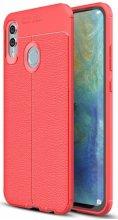Huawei Honor 10 Lite Kılıf Deri Görünümlü Parmak İzi Bırakmaz Niss Silikon - Kırmızı - Siyah