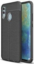 Huawei Honor 10 Lite Kılıf Deri Görünümlü Parmak İzi Bırakmaz Niss Silikon - Siyah