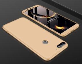 Huawei Honor 7C Kılıf 3 Parçalı 360 Tam Korumalı Rubber AYS Kapak  - Gold