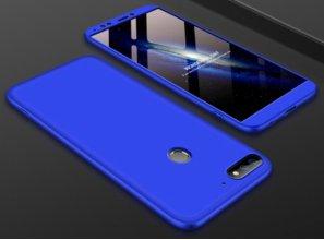 Huawei Honor 7C Kılıf 3 Parçalı 360 Tam Korumalı Rubber AYS Kapak  - Mavi