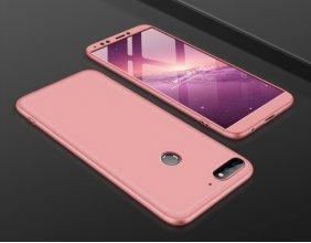 Huawei Honor 7C Kılıf 3 Parçalı 360 Tam Korumalı Rubber AYS Kapak  - Rose Gold