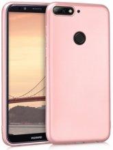 Huawei Honor 7C Kılıf İnce Mat Esnek Silikon - Rose Gold