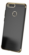 Huawei Honor 7C Kılıf Renkli Köşeli Lazer Şeffaf Esnek Silikon - Gold