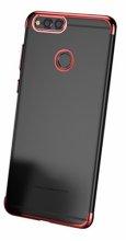 Huawei Honor 7C Kılıf Renkli Köşeli Lazer Şeffaf Esnek Silikon - Kırmızı