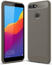 Huawei Honor 7C Kılıf Silikon Parmak İzi Bırakmayan Karbon Soft Room Kapak - Gri