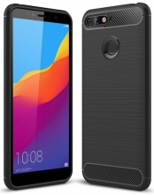 Huawei Honor 7C Kılıf Silikon Parmak İzi Bırakmayan Karbon Soft Room Kapak - Siyah