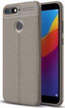 Huawei Honor 7C Kılıf Deri Görünümlü Parmak İzi Bırakmaz Niss Silikon - Gri