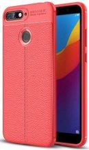 Huawei Honor 7C Kılıf Deri Görünümlü Parmak İzi Bırakmaz Niss Silikon - Kırmızı