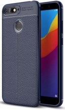 Huawei Honor 7C Kılıf Deri Görünümlü Parmak İzi Bırakmaz Niss Silikon - Lacivert