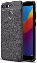 Huawei Honor 7C Kılıf Deri Görünümlü Parmak İzi Bırakmaz Niss Silikon - Siyah
