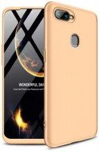 Oppo A12 Kılıf 3 Parçalı 360 Tam Korumalı Rubber AYS Kapak  - Gold