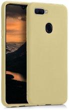 Oppo A12 Kılıf İnce Mat Esnek Silikon - Gold