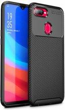 Oppo A12 Kılıf Karbon Serisi Mat Fiber Silikon Kapak - Siyah