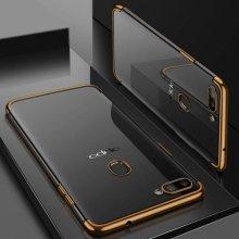 Oppo A12 Kılıf Renkli Köşeli Lazer Şeffaf Esnek Silikon - Gold