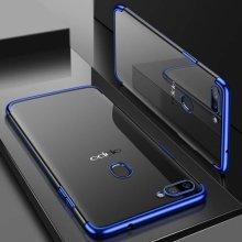 Oppo A12 Kılıf Renkli Köşeli Lazer Şeffaf Esnek Silikon - Mavi