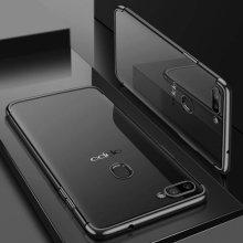 Oppo A12 Kılıf Renkli Köşeli Lazer Şeffaf Esnek Silikon - Siyah