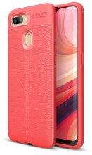 Oppo A12 Kılıf Rugan Serisi Silikon Deri Görünümlü Parmak İzi Bırakmaz - Kırmızı