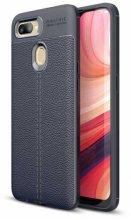 Oppo A12 Kılıf Rugan Serisi Silikon Deri Görünümlü Parmak İzi Bırakmaz - Lacivert