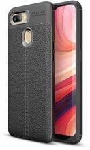 Oppo A12 Kılıf Rugan Serisi Silikon Deri Görünümlü Parmak İzi Bırakmaz - Siyah